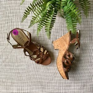Guess Celeste Leather Strappy Wedge Sandals